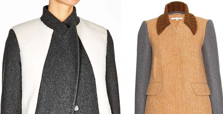 драповое пальто с вставками